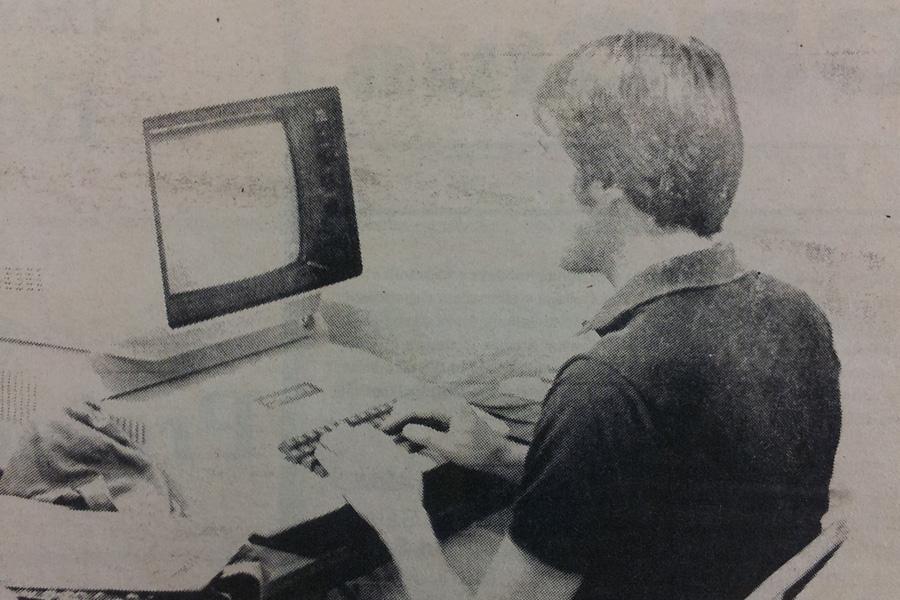 Joe Pyritz on an Apple II, 1982