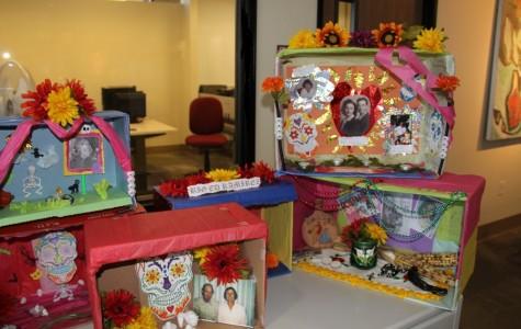 Mini alters celebrate the dead for Dia De Los Muertos.