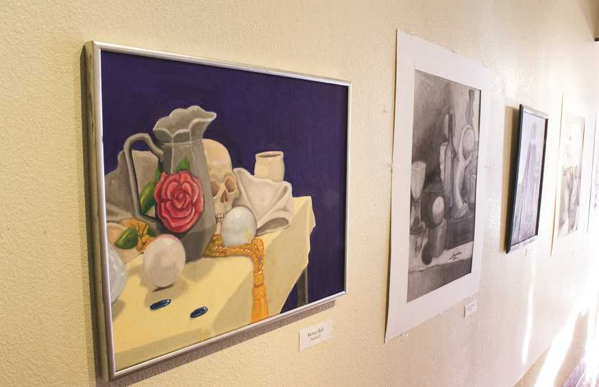 Student work on display at Art Gallery opening.
